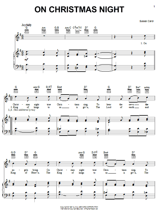 Traditional Carol On Christmas Night sheet music notes and chords