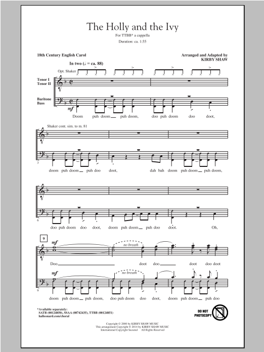 Traditional Carol The Holly And The Ivy (arr. Kirby Shaw) sheet music notes and chords
