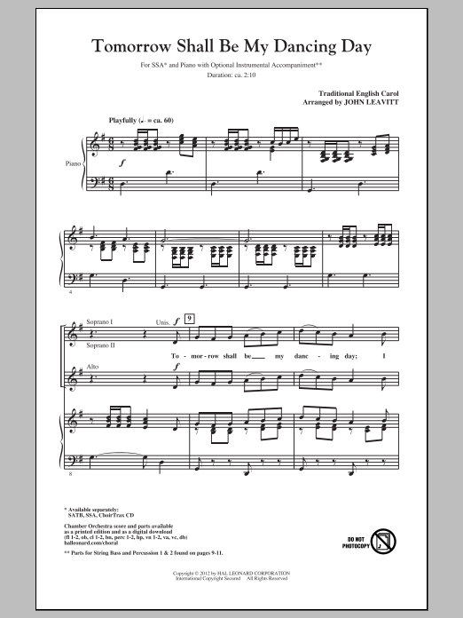 Traditional Carol Tomorrow Shall Be My Dancing Day (arr. John Leavitt) sheet music notes and chords. Download Printable PDF.