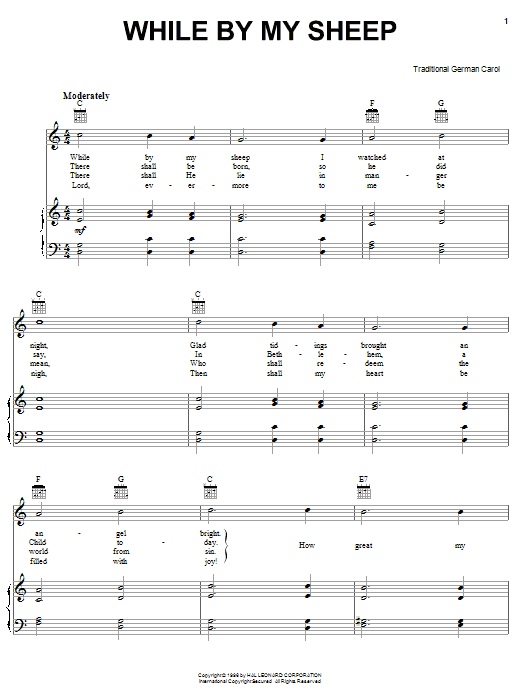 Traditional Carol While By My Sheep sheet music notes and chords. Download Printable PDF.