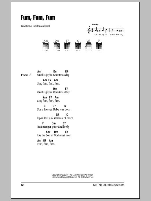 Traditional Carol Fum, Fum, Fum sheet music notes and chords. Download Printable PDF.