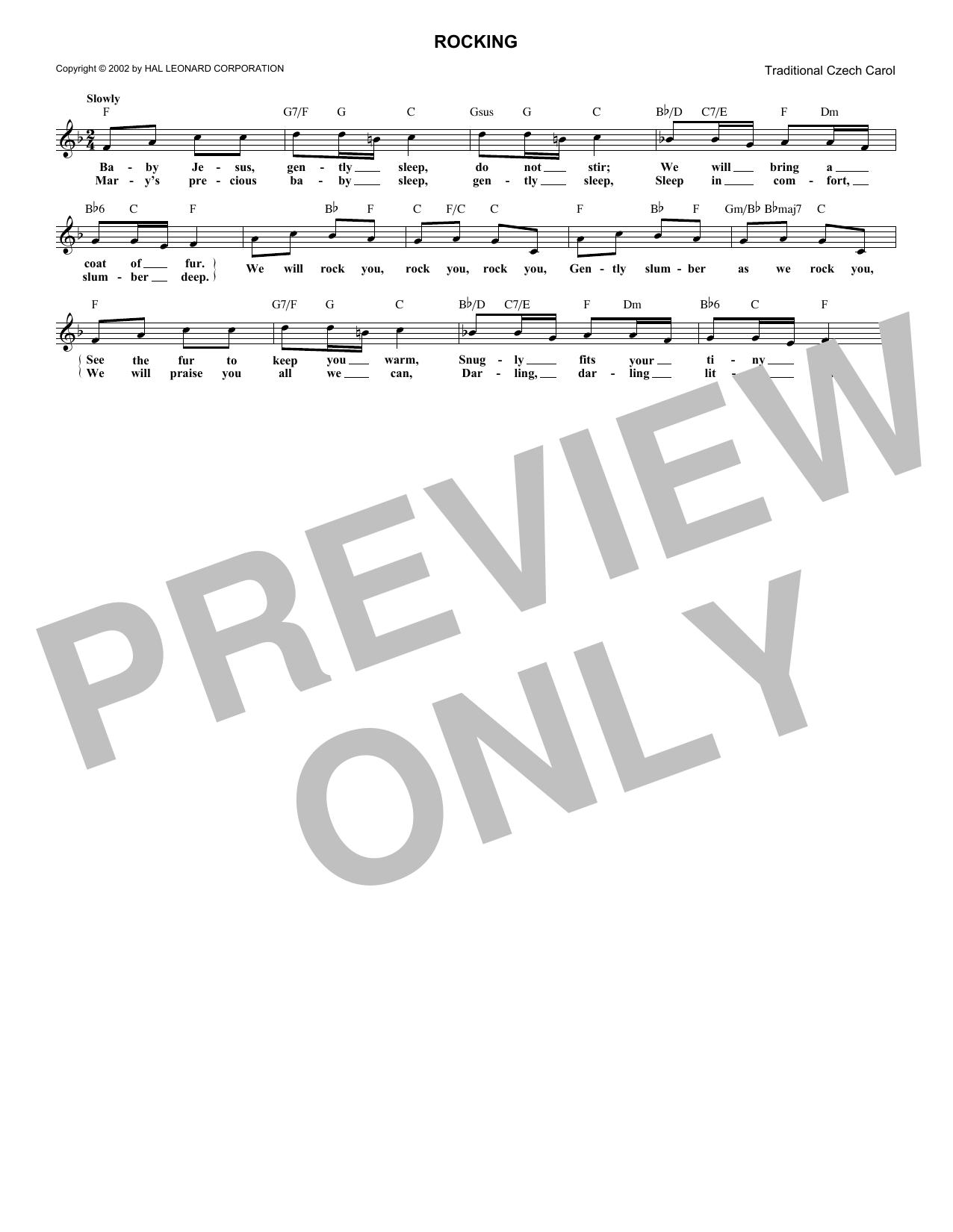 Christmas Carol Rocking sheet music notes and chords. Download Printable PDF.