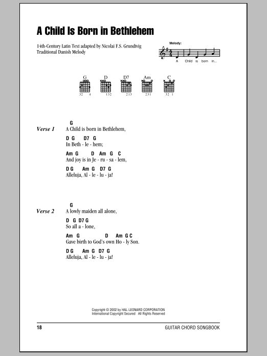 Traditional Danish Melody A Child Is Born In Bethlehem sheet music notes and chords