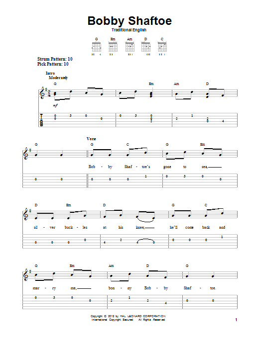 Traditional English Bobby Shaftoe sheet music notes and chords. Download Printable PDF.
