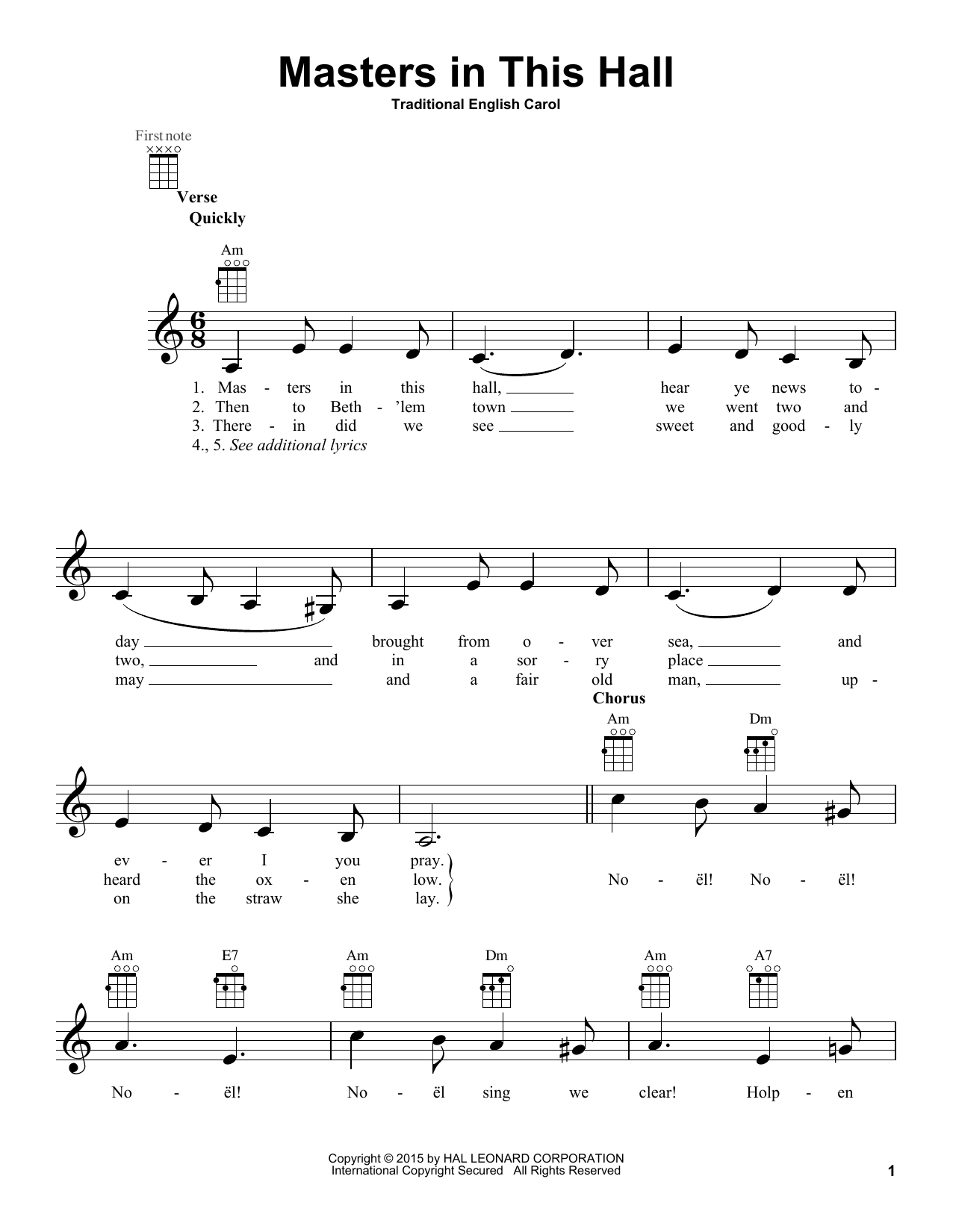 Traditional English Masters In This Hall sheet music notes and chords. Download Printable PDF.