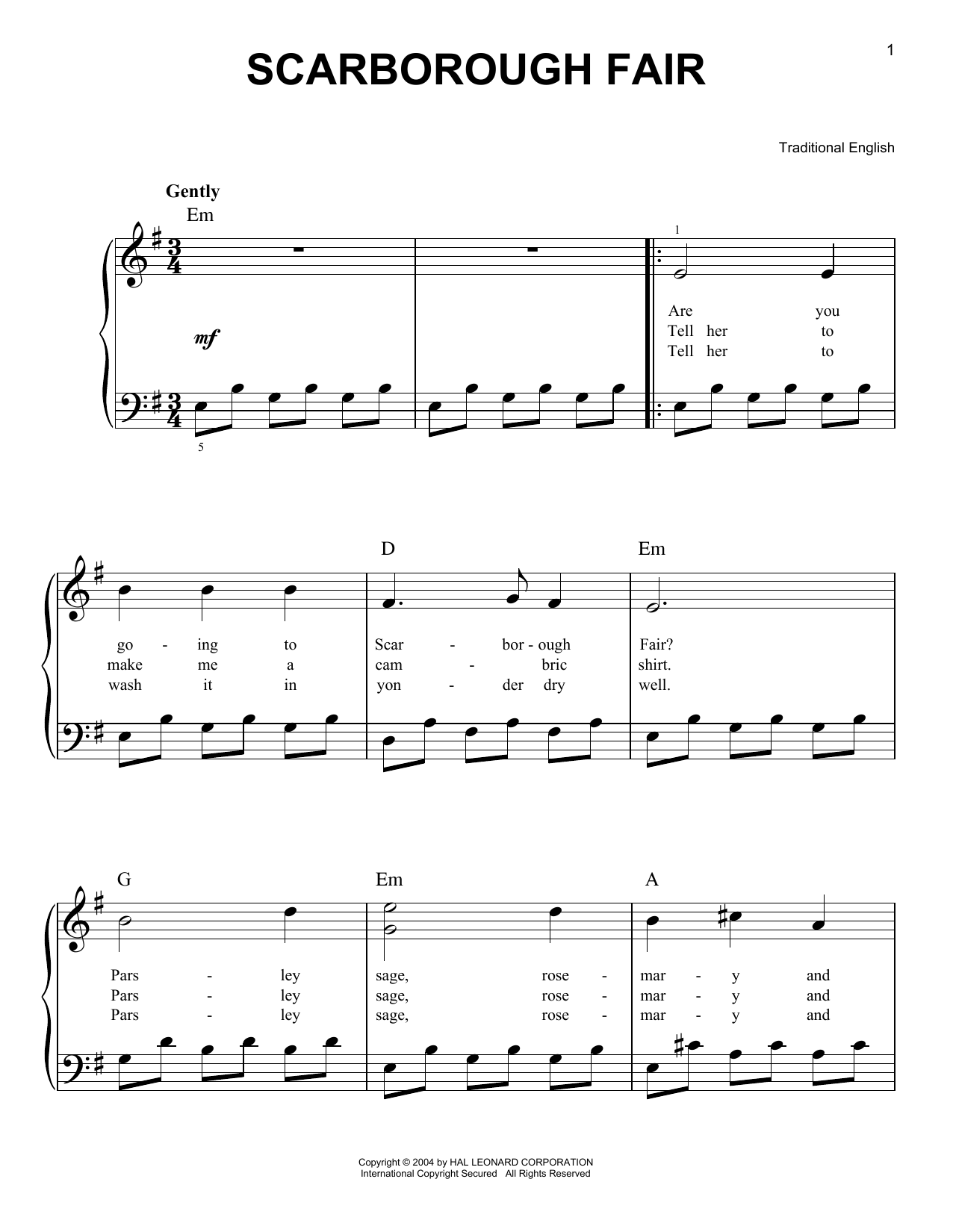 Traditional English Scarborough Fair sheet music notes and chords. Download Printable PDF.