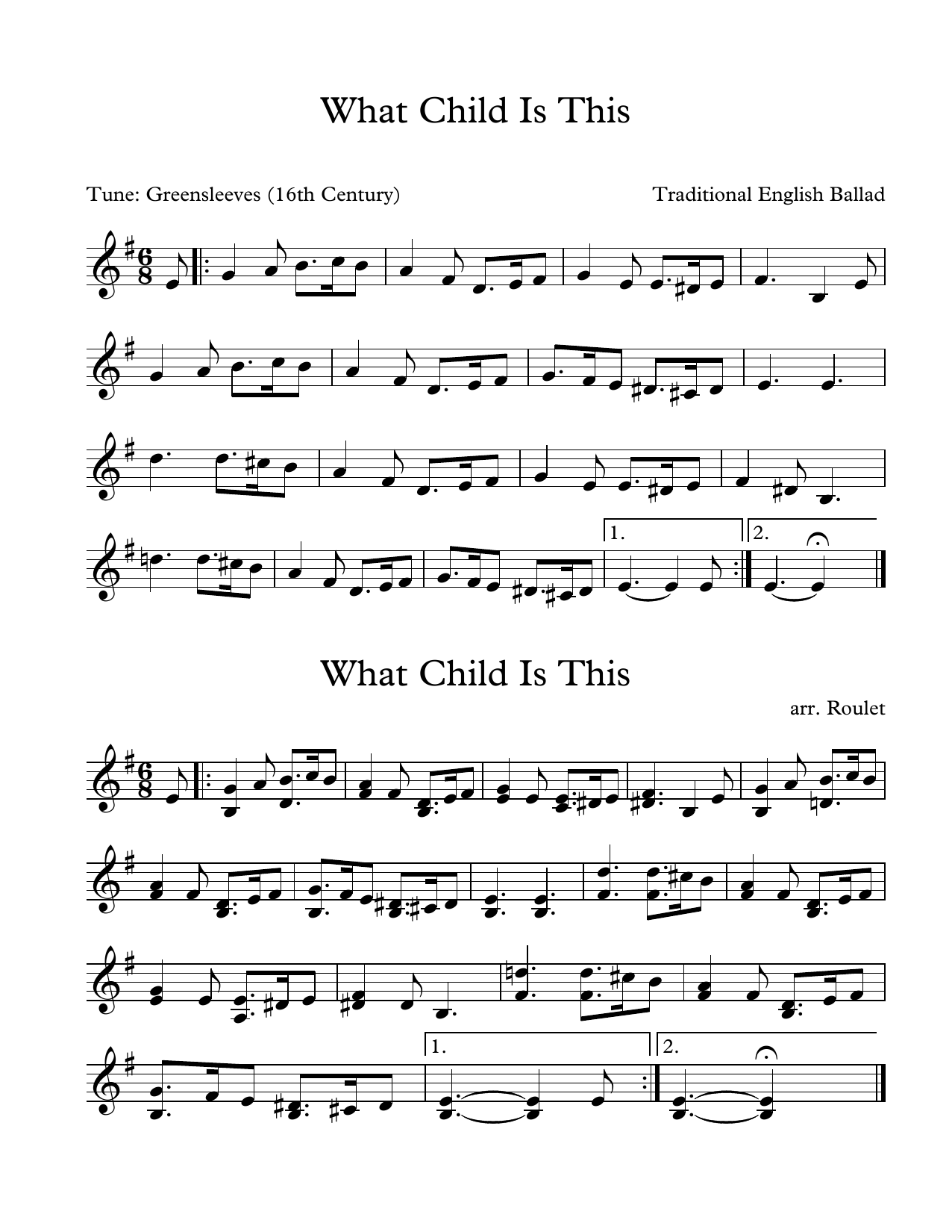 Traditional English Ballad What Child Is This (arr. Patrick Roulet) sheet music notes and chords. Download Printable PDF.