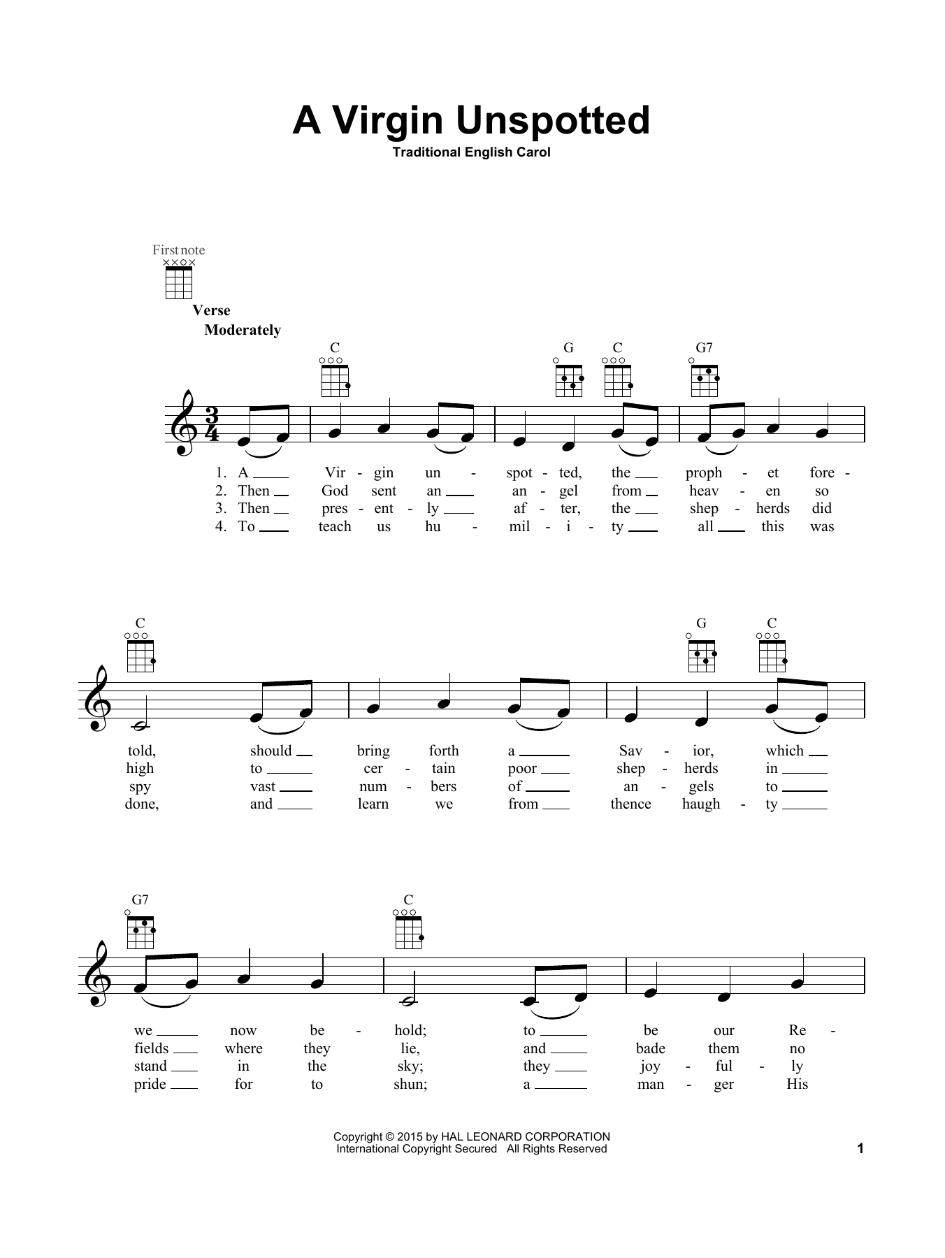 Traditional English Carol A Virgin Unspotted sheet music notes and chords. Download Printable PDF.