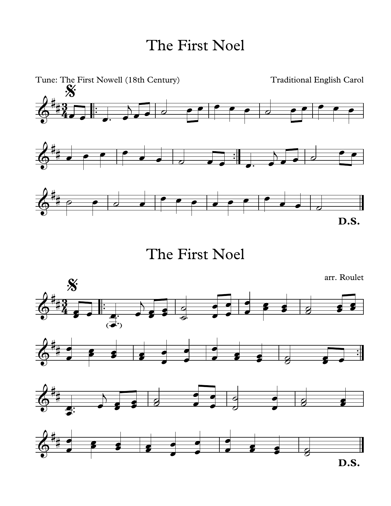 Traditional English Carol First Noel (arr. Patrick Roulet) sheet music notes and chords. Download Printable PDF.