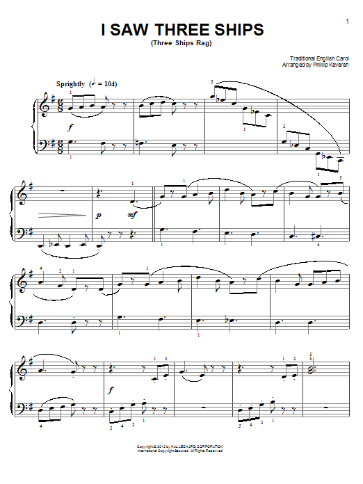 Traditional English Carol I Saw Three Ships [Ragtime version] (arr. Phillip Keveren) sheet music notes and chords. Download Printable PDF.
