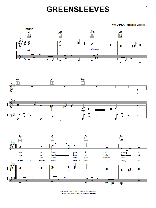 Traditional English Folksong Greensleeves sheet music notes and chords. Download Printable PDF.