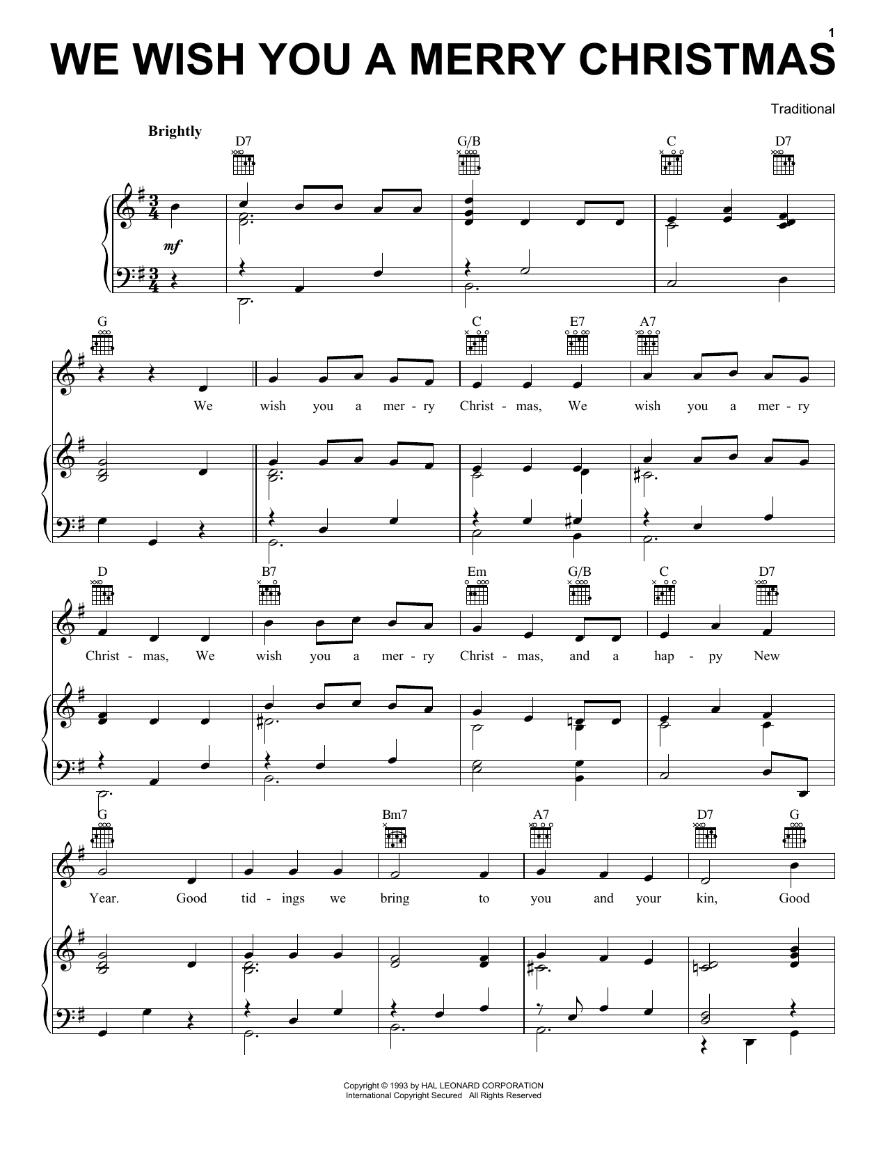 Traditional English Folksong We Wish You A Merry Christmas sheet music notes and chords