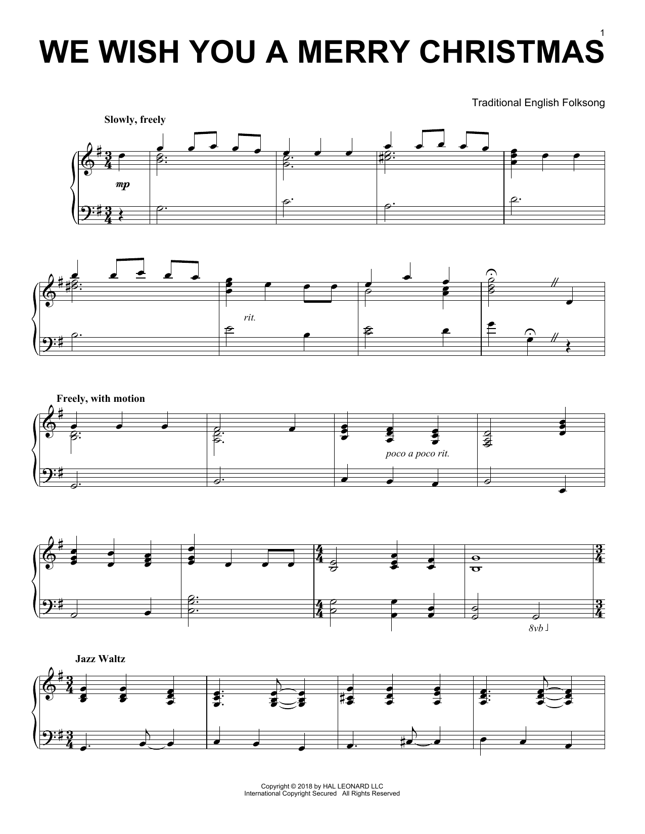 Traditional English Folksong We Wish You A Merry Christmas Jazz Version Sheet Music Pdf Notes Chords Christmas Score Piano Solo Download Printable Sku 254741