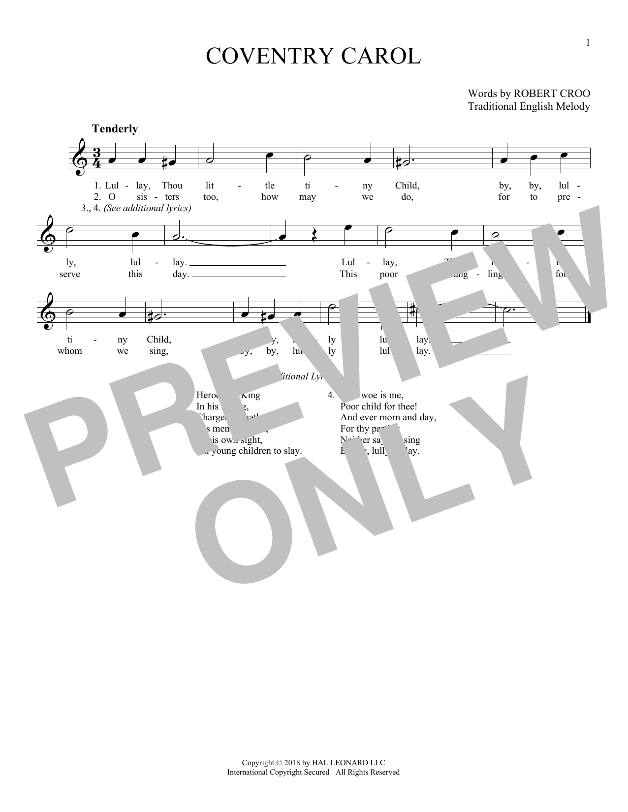 Traditional English Melody Coventry Carol sheet music notes and chords. Download Printable PDF.