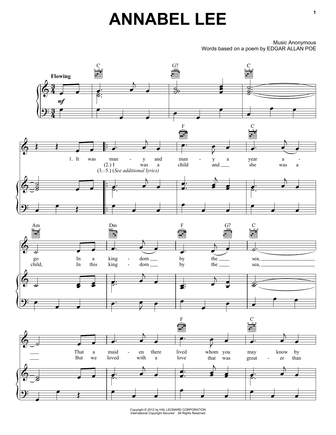Traditional Folksong Annabel Lee sheet music notes and chords