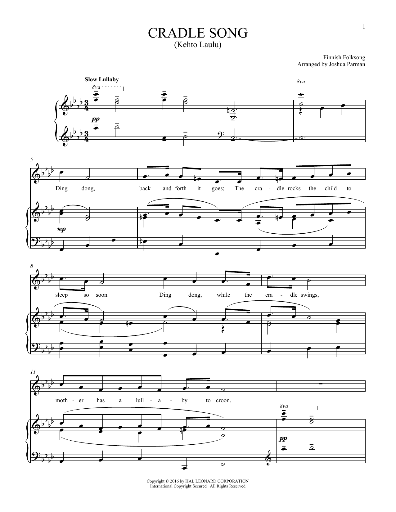 Traditional Folksong Kehto Laula (Cradle Song) sheet music notes and chords