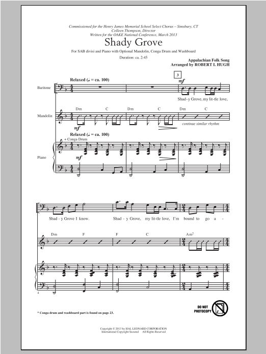 Traditional Folksong Shady Grove (arr. Robert I. Hugh) sheet music notes and chords. Download Printable PDF.