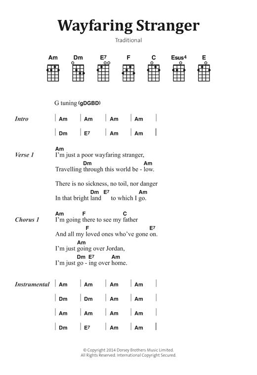 Traditional Folksong Wayfaring Stranger sheet music notes and chords. Download Printable PDF.