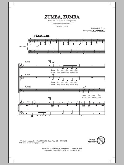Traditional Folksong Zumba, Zumba (arr. Jill Gallina) sheet music notes and chords. Download Printable PDF.