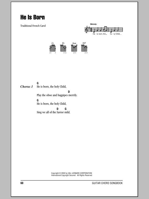 Traditional French Carol He Is Born sheet music notes and chords. Download Printable PDF.