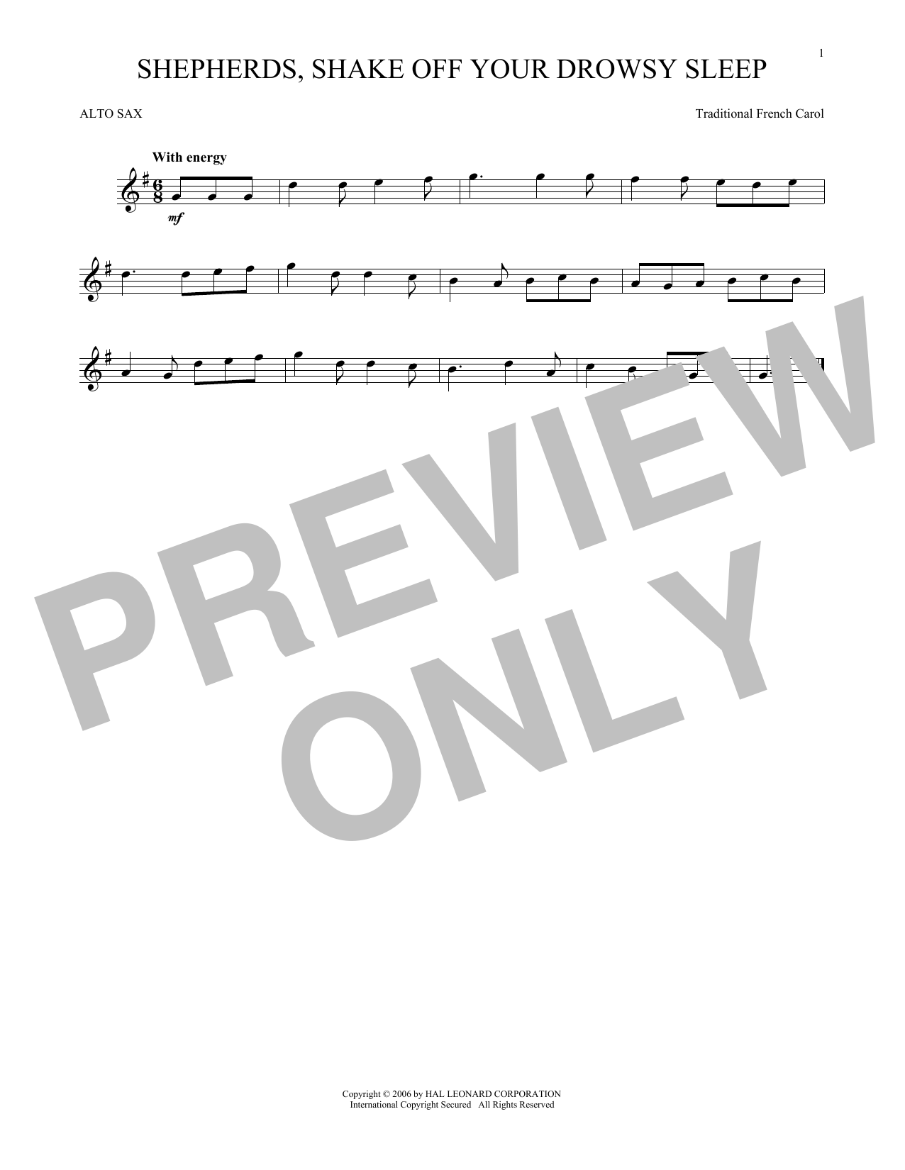 Traditional French Carol Shepherds, Shake Off Your Drowsy Sleep sheet music notes and chords