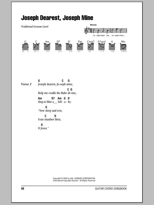 Traditional Carol Joseph Dearest, Joseph Mine sheet music notes and chords. Download Printable PDF.