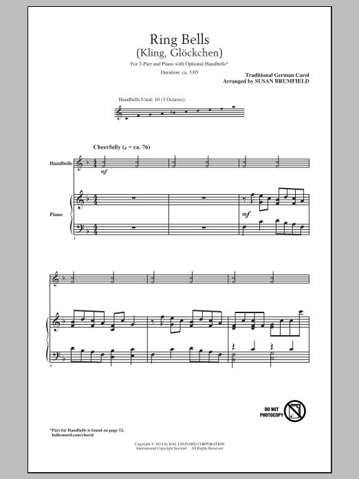 Traditional German Carol Kling, Glockchen (Ring, Merry Bell) (arr. Susan Brumfield) sheet music notes and chords. Download Printable PDF.