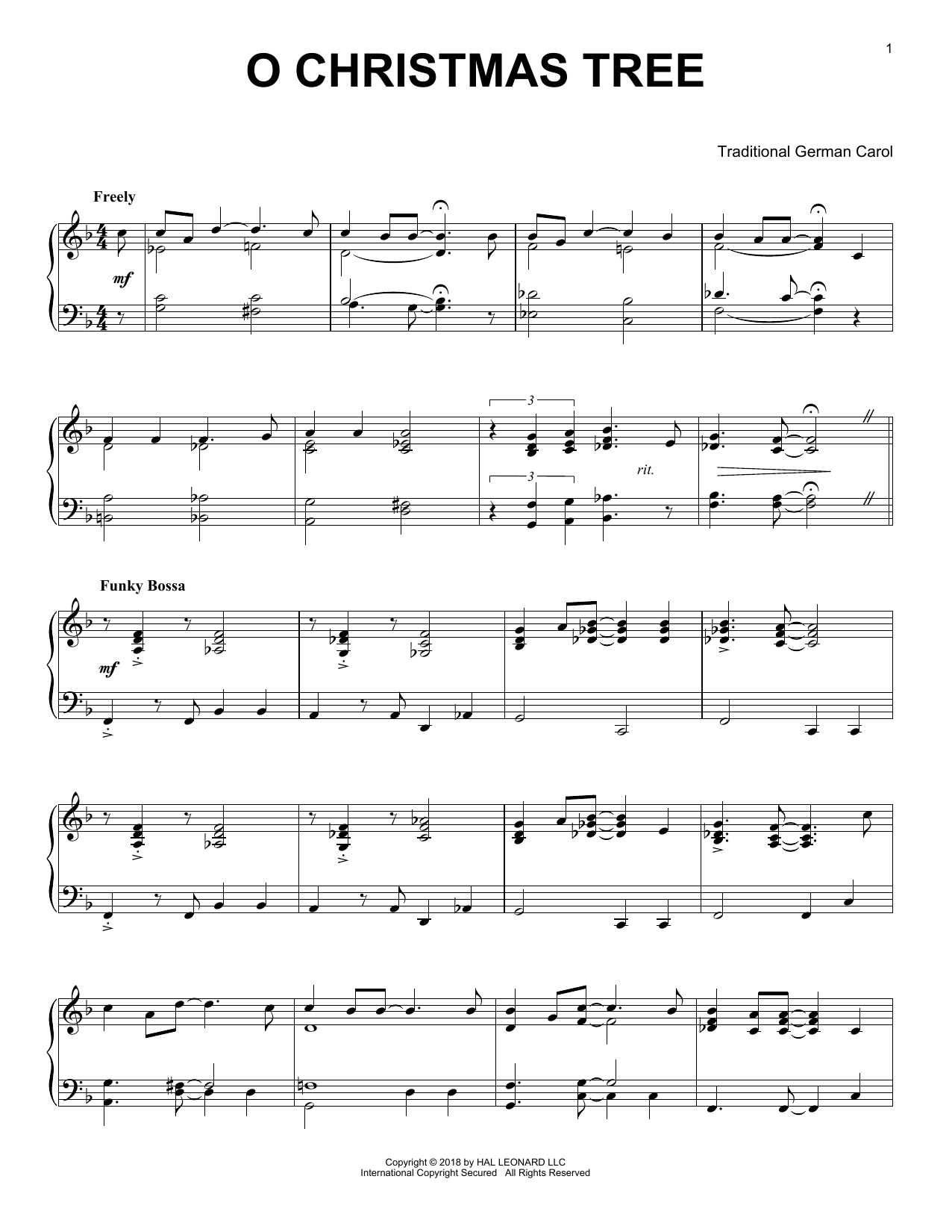 Traditional German Carol O Christmas Tree [Jazz version] sheet music notes and chords. Download Printable PDF.