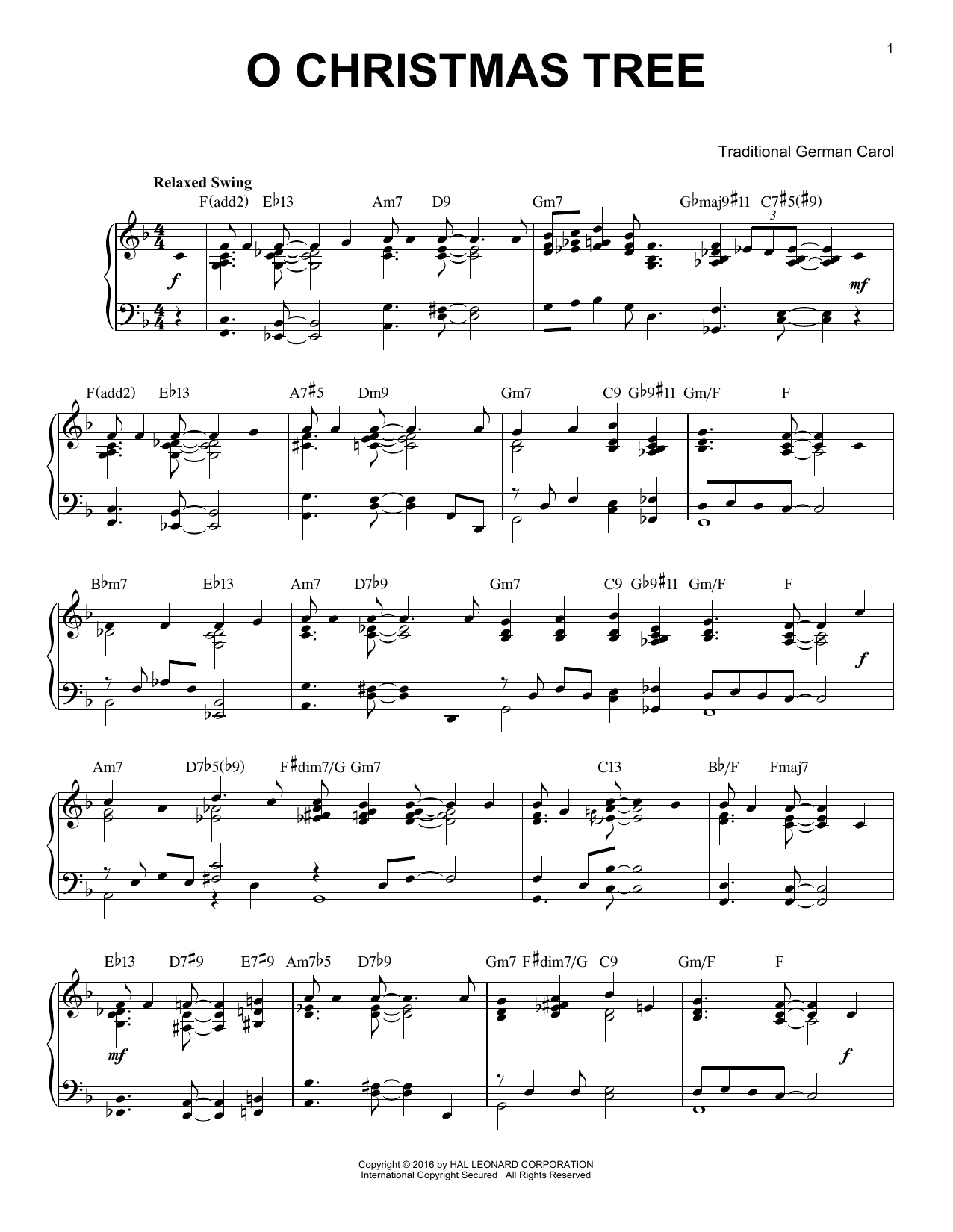 Traditional German Carol O Christmas Tree [Jazz version] (arr. Brent Edstrom) sheet music notes and chords. Download Printable PDF.