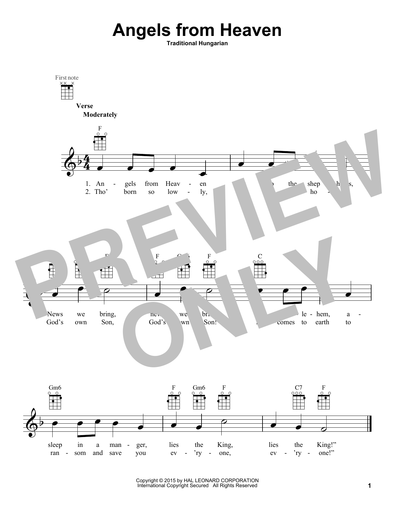 Traditional Hungarian Angels From Heaven sheet music notes and chords. Download Printable PDF.