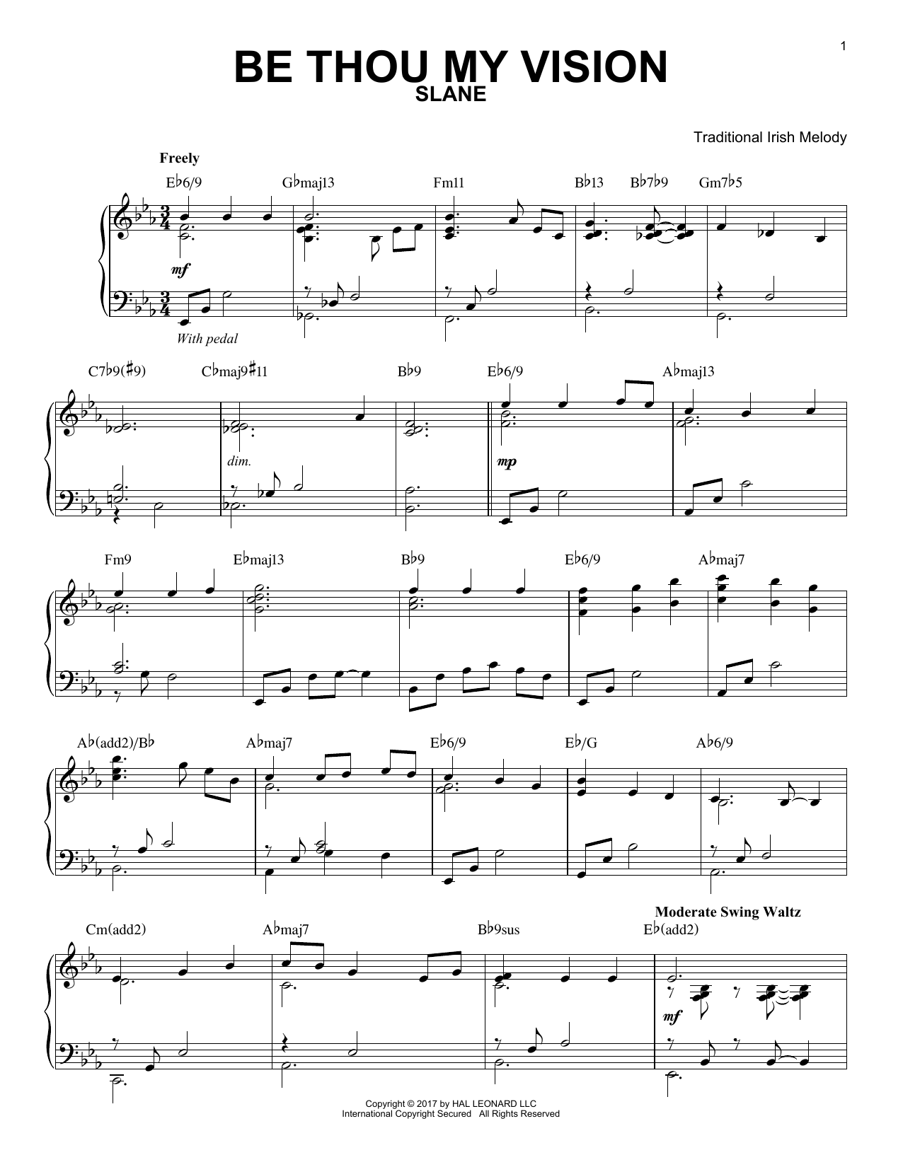 Traditional Irish Be Thou My Vision [Jazz version] sheet music notes and chords. Download Printable PDF.