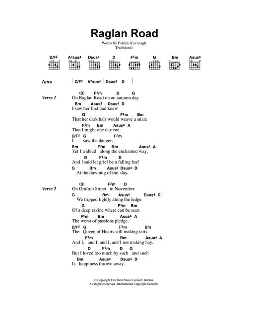 Traditional Irish Raglan Road sheet music notes and chords. Download Printable PDF.