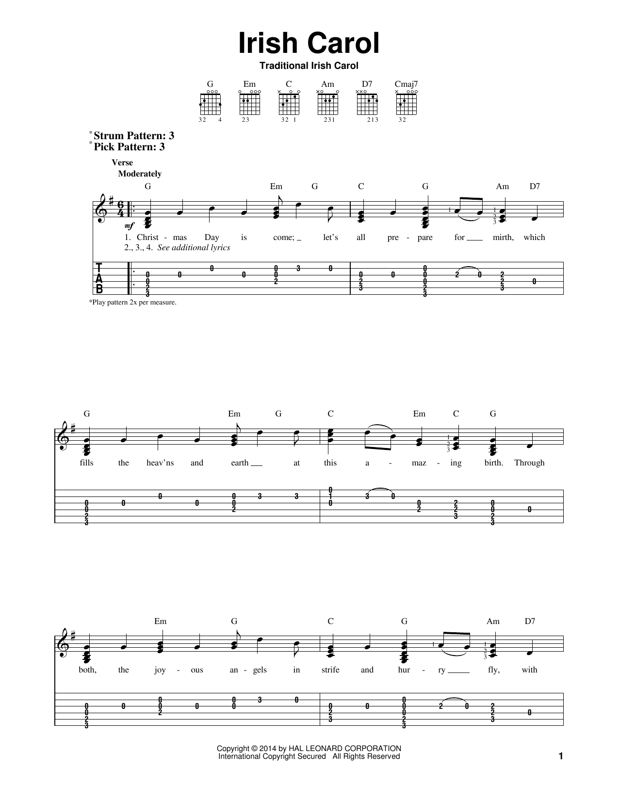 Traditional Irish Carol Irish Carol sheet music notes and chords