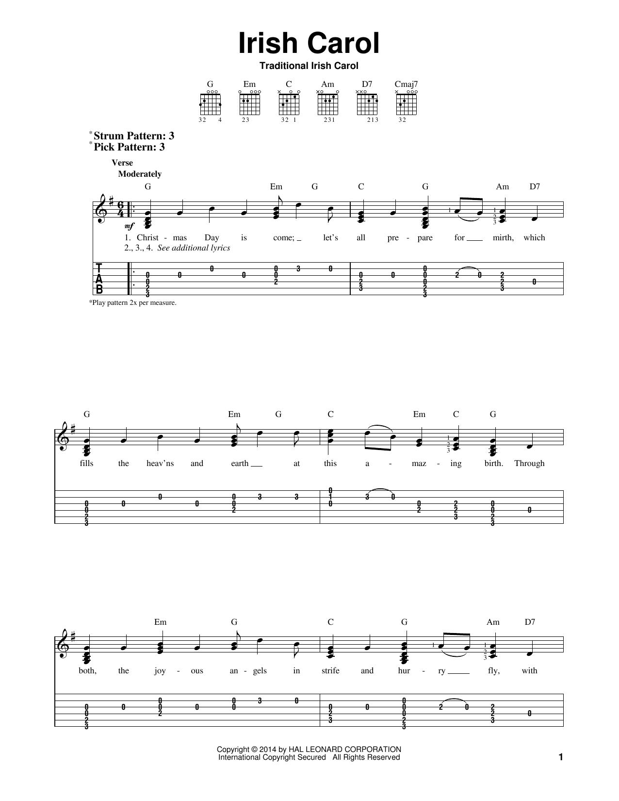 Traditional Irish Carol Irish Carol sheet music notes and chords. Download Printable PDF.