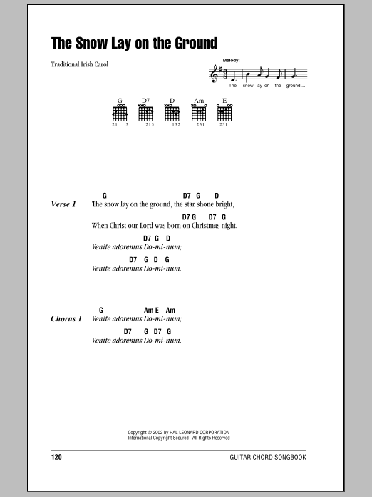 Traditional Carol The Snow Lay On The Ground sheet music notes and chords. Download Printable PDF.