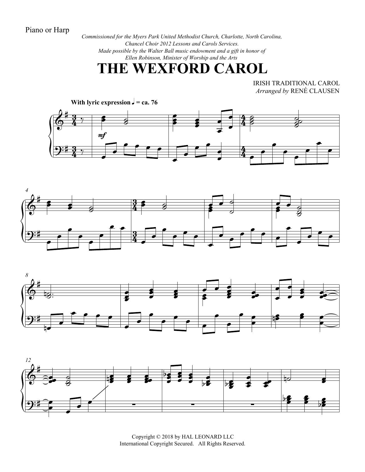 Traditional Irish Carol The Wexford Carol (arr. Rene Clausen) - Harp sheet music notes and chords
