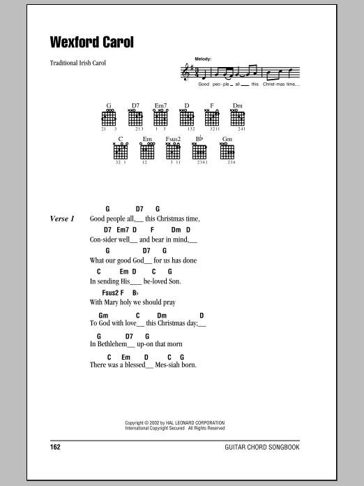 Traditional Irish Carol Wexford Carol sheet music notes and chords. Download Printable PDF.