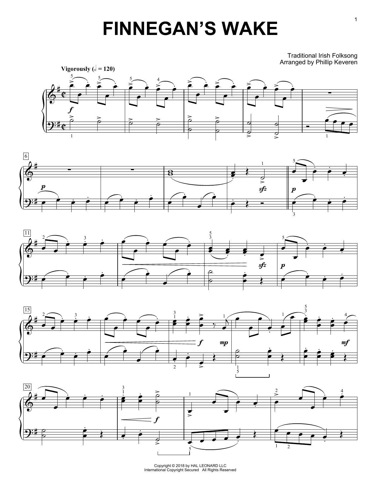 Traditional Irish Folk Song Finnegan's Wake [Classical version] (arr. Phillip Keveren) sheet music notes and chords. Download Printable PDF.
