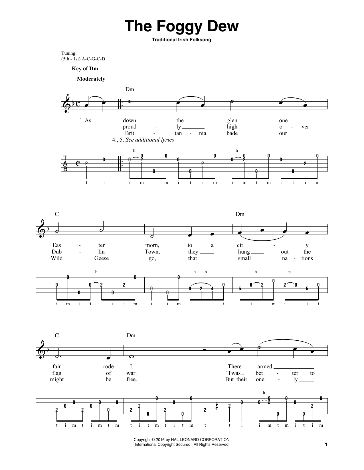 Traditional Irish Folk Song The Foggy Dew sheet music notes and chords. Download Printable PDF.