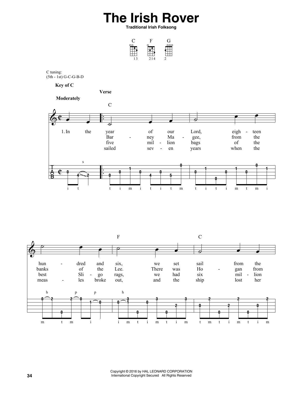 Traditional Irish Folk Song The Irish Rover sheet music notes and chords
