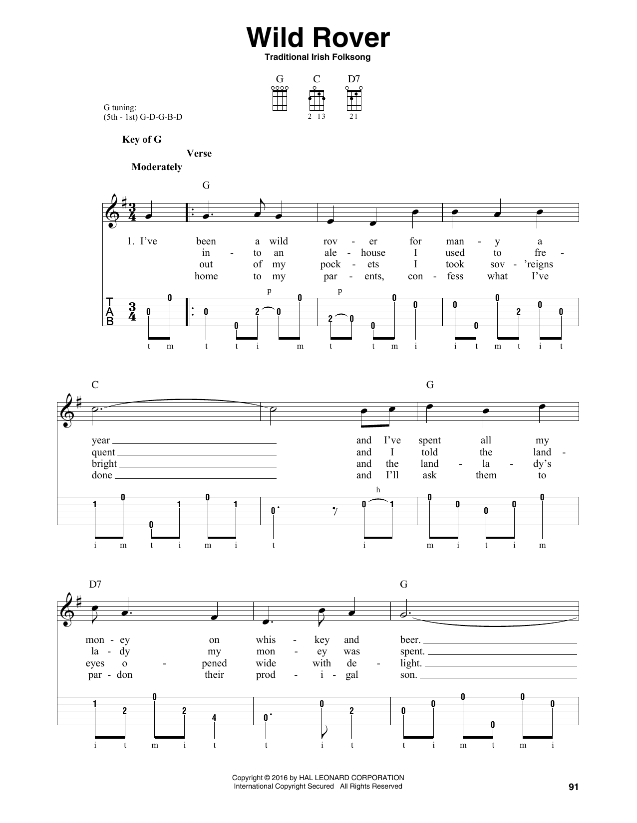 Traditional Irish Folk Song Wild Rover sheet music notes and chords