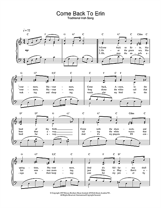 Traditional Irish Song Come Back To Erin sheet music notes and chords