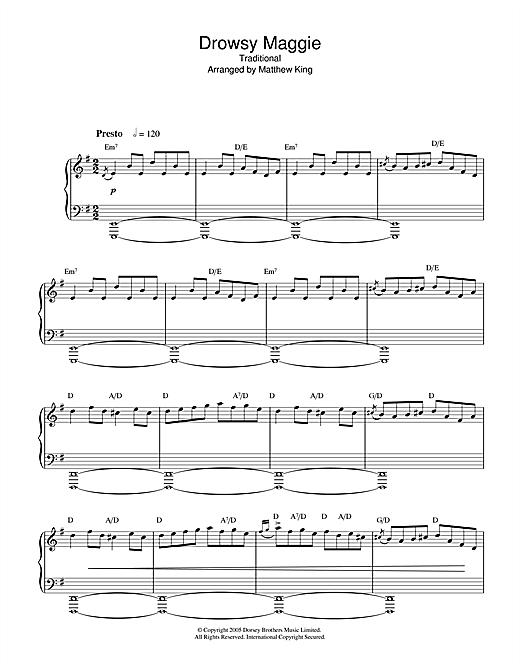 Traditional Irish Song Drowsy Maggie sheet music notes and chords. Download Printable PDF.