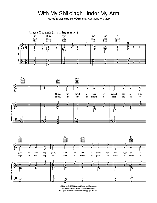 Traditional Irish Song With My Shillelagh Under My Arm sheet music notes and chords