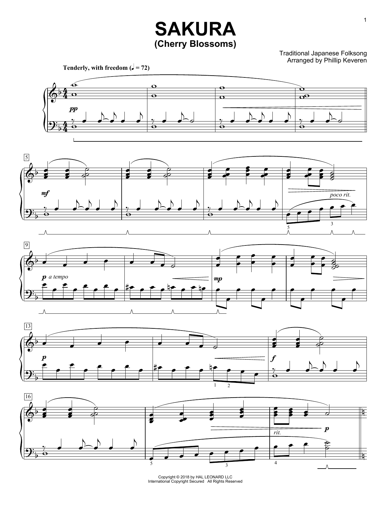 Traditional Japanese Folk Song Sakura (Cherry Blossoms) [Classical version] (arr. Phillip Keveren) sheet music notes and chords. Download Printable PDF.