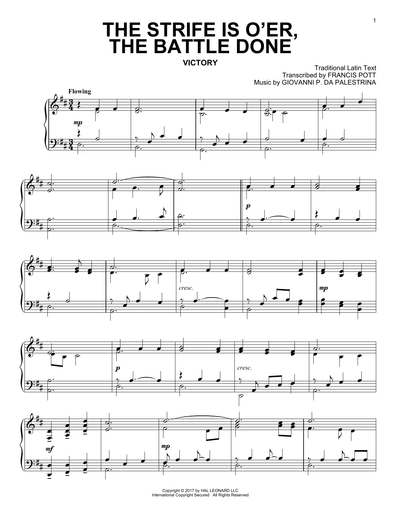 Traditional Latin Text The Strife Is O'er, The Battle Done sheet music notes and chords. Download Printable PDF.