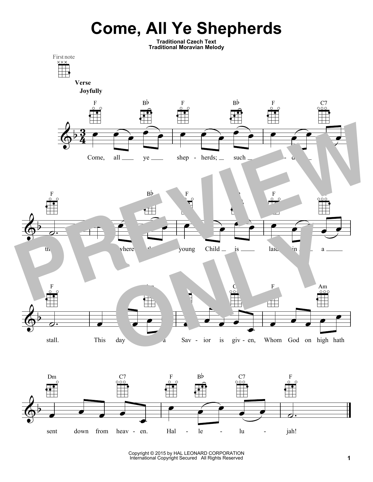 Traditional Moravian Melody Come, All Ye Shepherds sheet music notes and chords. Download Printable PDF.