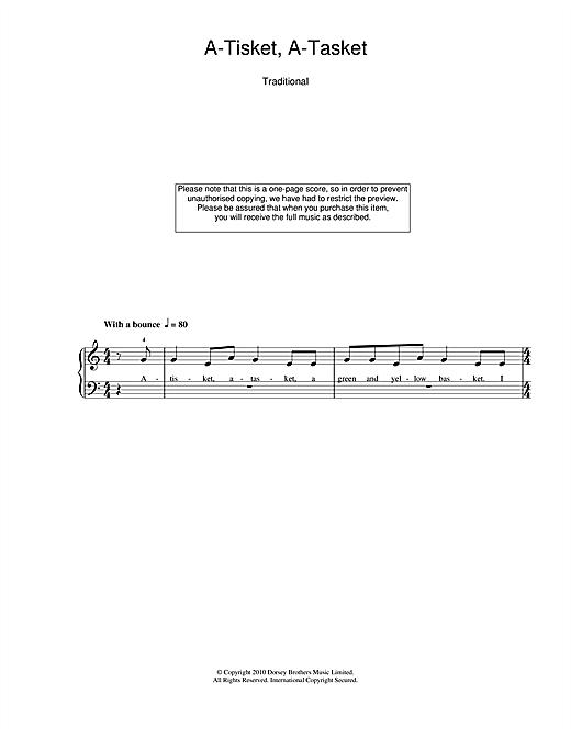 Traditional Nursery Rhyme A-tisket, A-tasket sheet music notes and chords. Download Printable PDF.