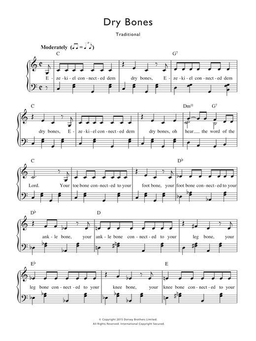 Traditional Nursery Rhyme Dry Bones Sheet Music Notes Chords Printable Piano Vocal Sku 122294