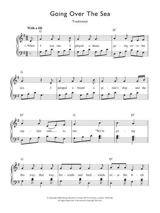 Going Over The Sea Sheet Music Pdf
